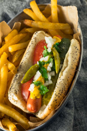 Homemade Chicago Style Hot Dog with Mustard Pickles Relish Tomato and Peppers Foto de archivo