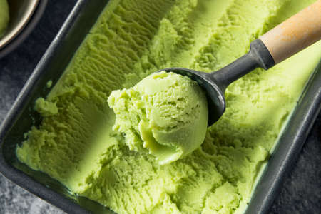 Homemade Green Organic Avocado Ice Cream Ready to Eat Stok Fotoğraf