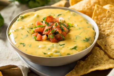 Spicy Homemade Cheesey Queso Dip with Tortilla Chips Stockfoto