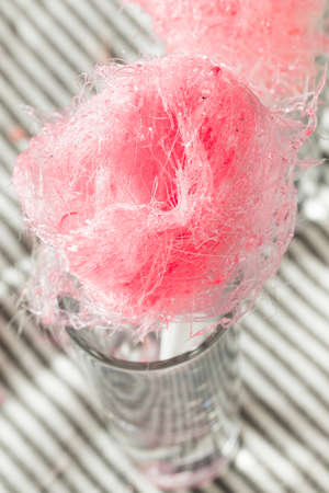 Sugary Pink Homemade Cotton Candy Floss on a Stick