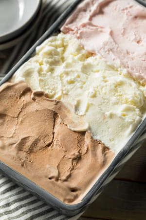 Homemade Neopolitan Ice Cream with Vanilla Chocolate and Strawberry