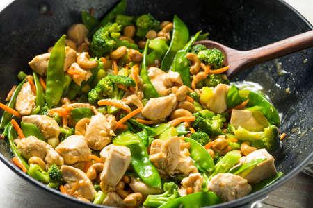 Homemade Asian Cashew Chicken Stir Fry with Veggies Фото со стока