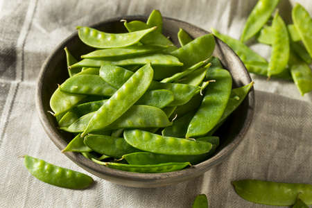 Raw Green Organic Snow Peas Ready to Eat