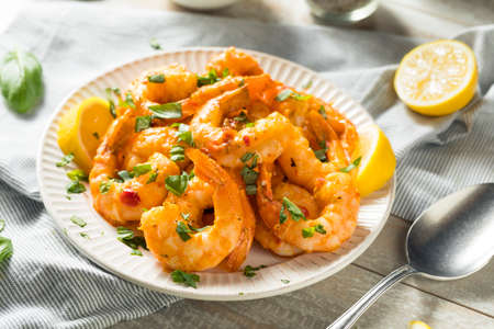 Homemade Spicy Garlic Shrimp with Basil and Herbs