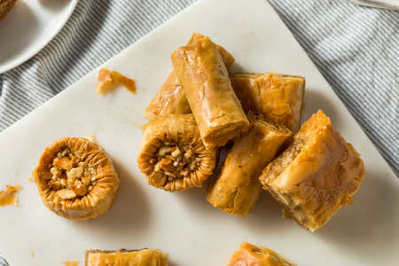 Homemade Turkish Baklava Pastries with Nuts and Honey