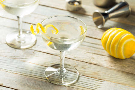 Homemade Alcoholic Vesper Martini with a Lemon Twist Stock Photo