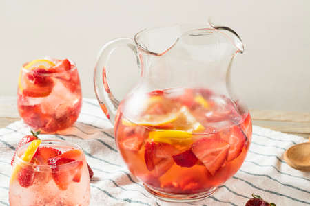 Homemade Berry Rose Sangria with Lmeon Ready to Drink Stock Photo