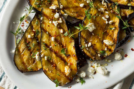 Homemade Grilled Eggplant with Feta and Herbs