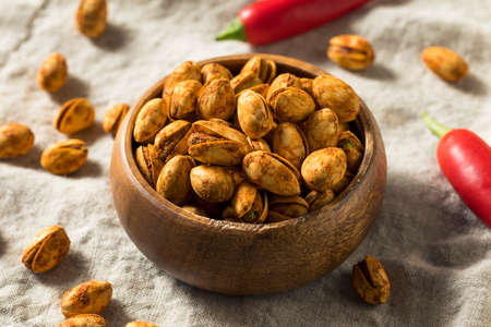 Homemade Spicy Shelled Pistachios in a Bowl