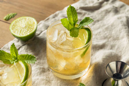 Homemade Moscow Mule with Ginger and Lime in a Regular Glass