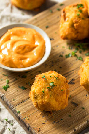 Homemade Deep Fried Potato Croquettes with Sauce