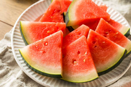 Raw Pink Organic Seedless Watermelon Slices for Summer