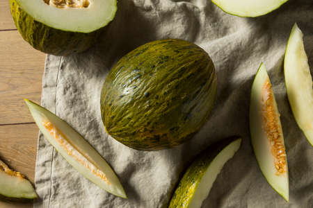 Raw Green Organic Santa Claus Melon Ready to Eat Stock Photo