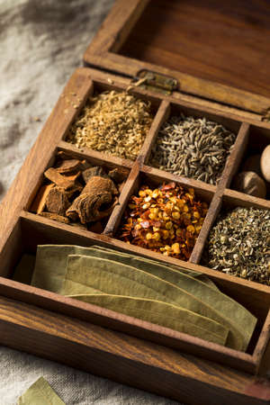 Raw Dry Organic Spices in a Box