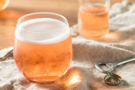Alcoholic Sparkling Rose Cider in a Glass