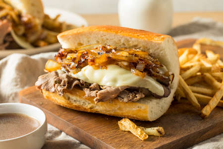 Homemade Beef French Dip Sandwich with French Fries