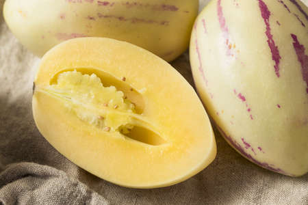 Raw White Organic Pepino Melons Ready to Eat