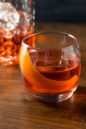Alcoholic Red Negroni Cocktail with Vermouth Gin and Oranges Stok Fotoğraf