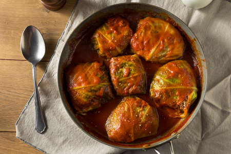 Homemade Beef Stuffed Cabbage Rolls with Tomato Sauce Stok Fotoğraf