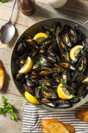 Homemade Steamed Mussels and Broth with Bread