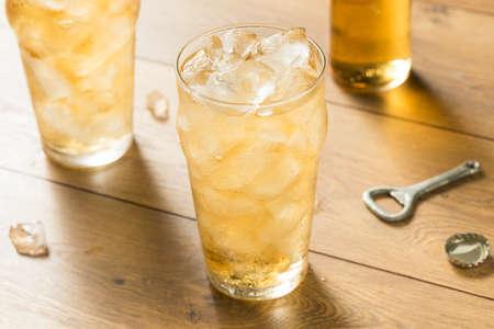 Sweet Refreshing Vanilla Cream Soda with Ice Stock Photo