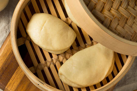 Homemade Steamed Chinese Bao Buns Ready to Eat Stock Photo