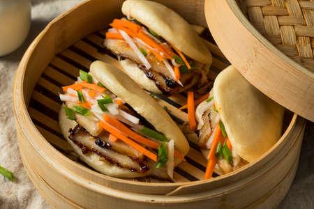 Homemade Steamed Pork Belly Bao Buns with Veggies