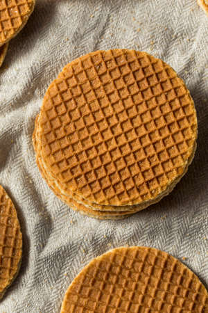 Homemade Dutch Stroopwafles with Honey Ready to Eat Stockfoto