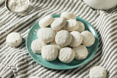 Homemade White Mexican Wedding Cookies Ready to Eat