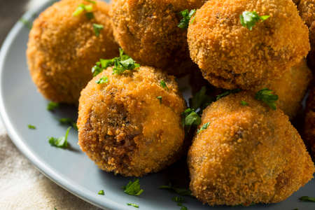 Fried Homemade Dutch Bitterballen with Spicy Mustard Stock Photo