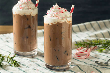 Sweet Peppermint Iced Coffee Mocha with Whipped Cream Stock fotó