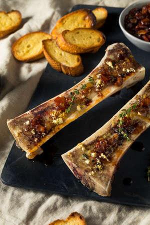 Homemade Roasted Beef Bone Marrow with Thyme and Lemon