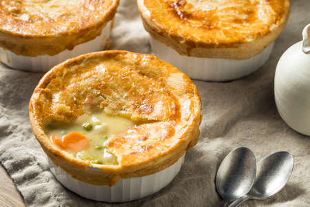 Homemade Individual  Chicken Pots Pies Ready to Eat
