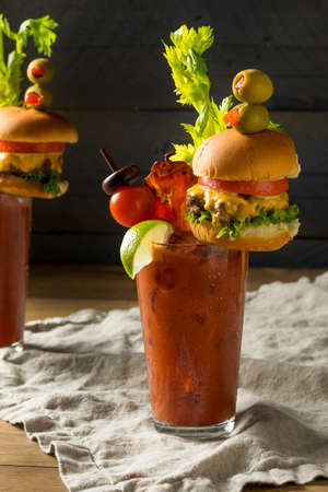 Cold Icy Gourmet Bloody Mary with a Hamburger and Bacon