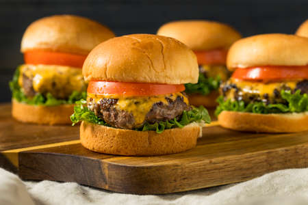 Homemade Cheeseburger Sliders with Tomato and Lettuce