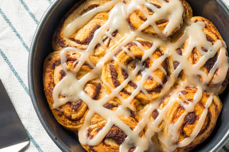 Sweet Homemade Cinnamon Rolls with Icing in a Pan
