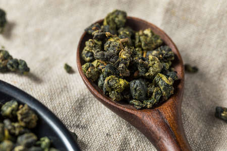 Dried Organic Oolong Pearl Tea in a Bowl