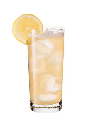 Refreshing Whiskey Ginger Cocktail on White with a Clipping Path 写真素材