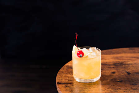 Refreshing Whiskey Sour Cocktail on a Table