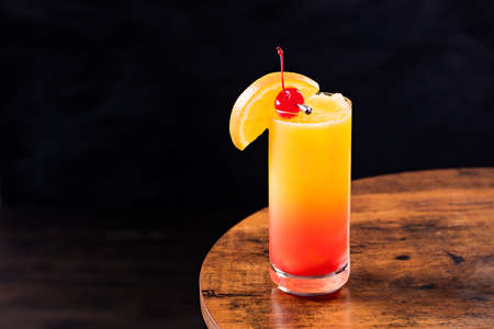 Refreshing Tequila Sunrise Cocktail on a Table