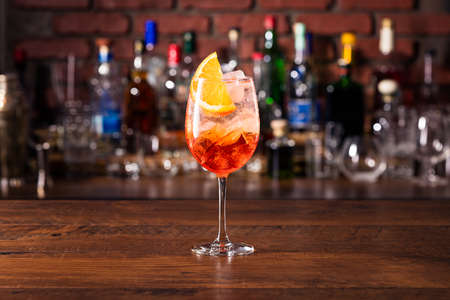 Alcoholic Aperol Spritz Cocktail at a Bar