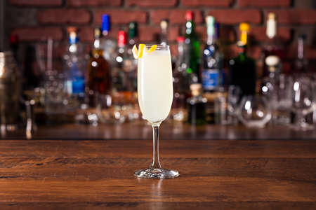 Refreshing French 75 Cocktail on a Bar