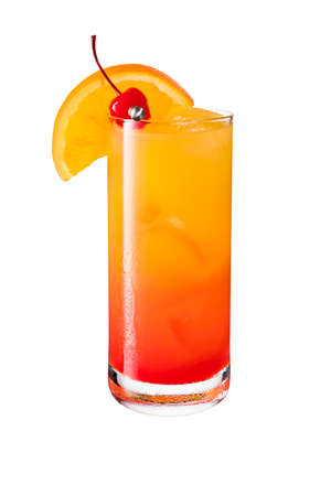 Refreshing Tequila Sunrise Cocktail on White with a Clipping Path Banque d'images
