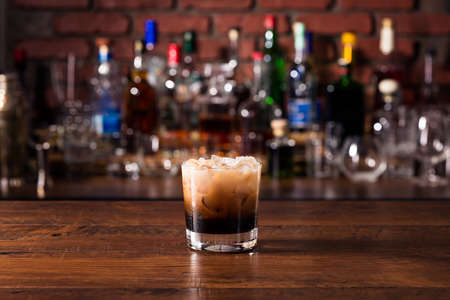 Refreshing White Russian Cocktail on a Bar Stock Photo