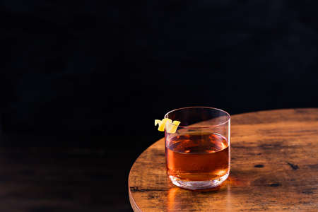 Refreshing Whiskey Sazerac Cocktail on a Table