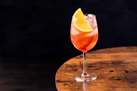 Alcoholic Aperol Spritz Cocktail on a Table Stock Photo