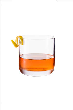 Refreshing Whiskey Sazerac Cocktail on White with a Clipping Path