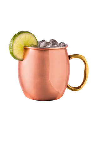 Refreshing Vodka Moscow Mule Cocktail on White with a Clipping Path 免版税图像