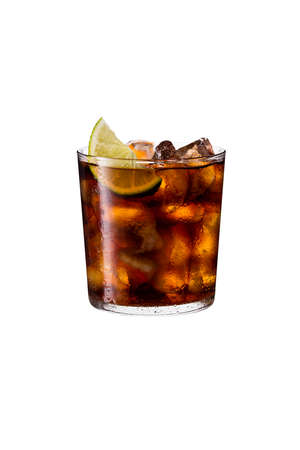 Refreshing Rum and Cola Cocktail on White with a Clipping Path Standard-Bild