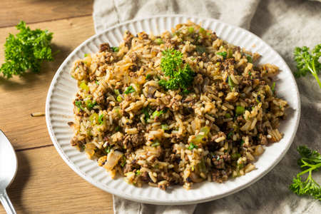 Cooked Cajun Dirty Rice with Ground Pork 免版税图像